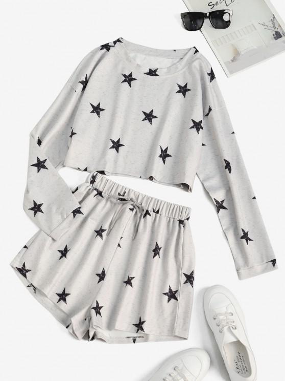 outfits Star Heathered Cropped Sweat Two Piece Set - GRAY CLOUD S