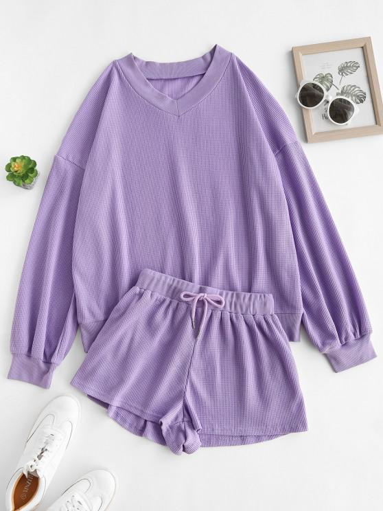 trendy Ribbed Trim Textured Sweat Two Piece Set - PURPLE M