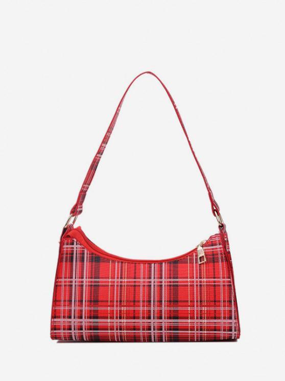 hot Rectangle Plaid Pattern Shoulder Bag - RED