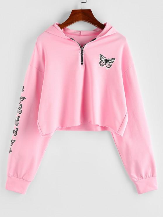 ZAFUL Half Zip Butterfly Print Cropped Hoodie - وردي فاتح S