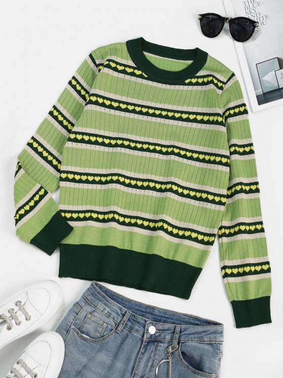 Heart Graphic Striped Knitwear - اخضر فاتح حجم واحد
