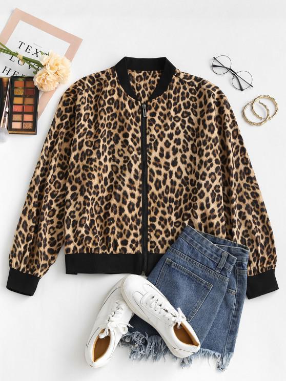 Leopard Tierdruck Reißverschluss Jacke - Leopard S