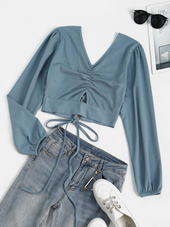 trendy Ribbed Tie Back Ruched Crop Tee - LIGHT BLUE XL
