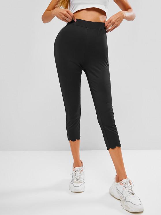 fashion ZAFUL High Waist Scalloped Capri Leggings - BLACK M