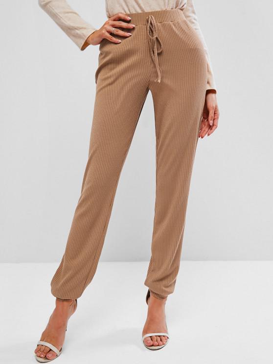 shop ZAFUL High Waist Rib Knit Pants - BROWN SUGAR XL