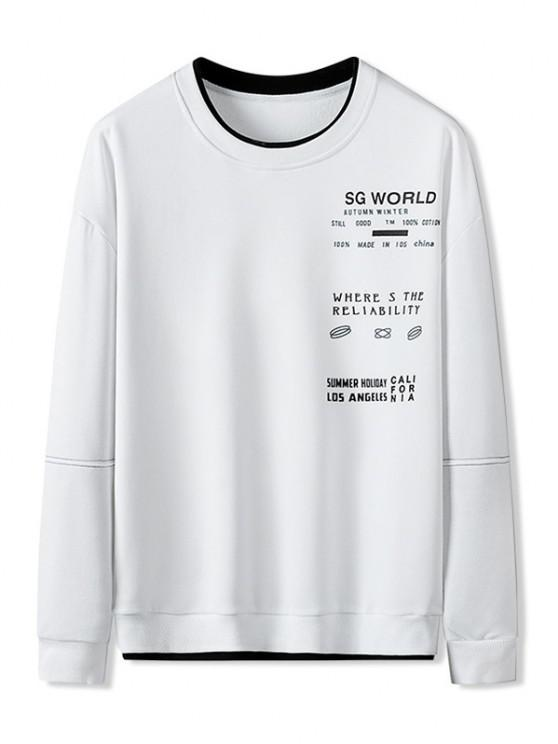 women's Colorblock Letter Patch Crew Neck Sweatshirt - WHITE XL