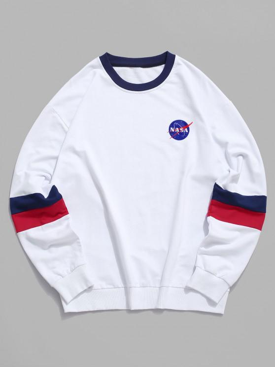 hot ZAFUL Colorblock Letter Graphic Casual Drop Shoulder Sweatshirt - WHITE 2XL