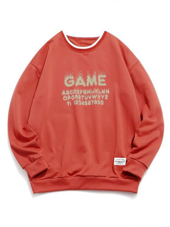 Moletom Camisola de Contraste com Estampa Game Day - Laranja Brilhante XS