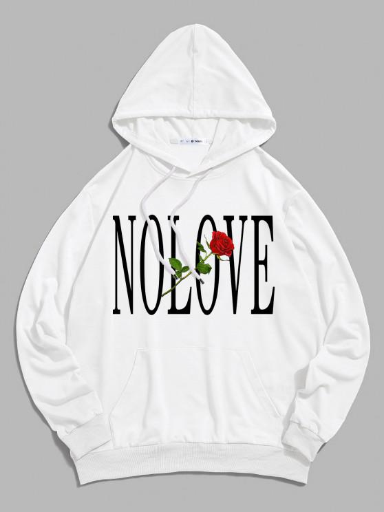 ladies ZAFUL Rose Flower Letter Print Front Pocket Hoodie - WHITE S