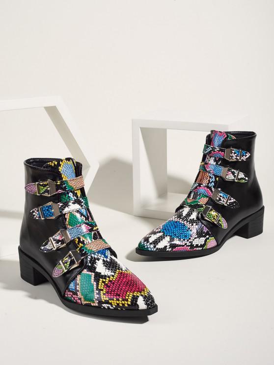 new Snakeskin Pattern Mix Color Boots - MULTI-A EU 39