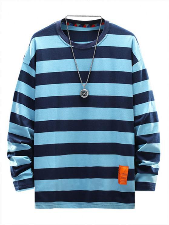 Letter Applique Striped Print T-shirt - السماء الزرقاء XL
