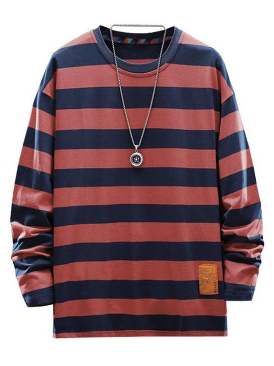 Letter Applique Striped Print T-shirt - نبيذ احمر 4XL
