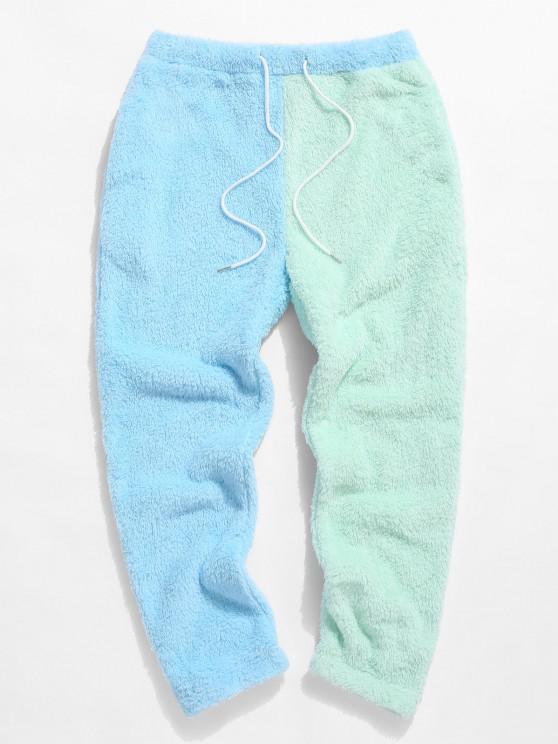 ZAFUL Pantalones Mullidos de Panel de Color Bloque - Azul claro L