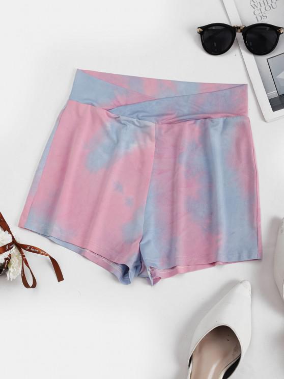 hot Tie Dye Wide Waistband Shorts - LIGHT PINK XL