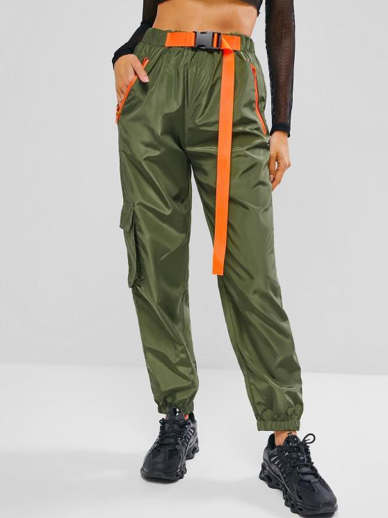 Pantalones de Carga con Cremallera y Bolsillos - Verde Oscuro M