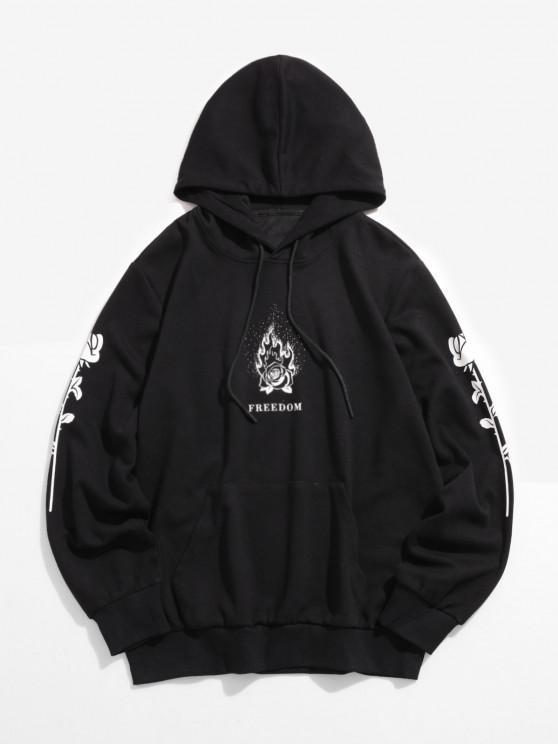fashion ZAFUL Flame Rose Freedom Pattern Hoodie - BLACK 2XL