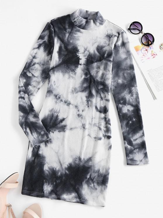 online ZAFUL Tie Dye Ribbed High Neck Bodycon Dress - MULTI-A XL