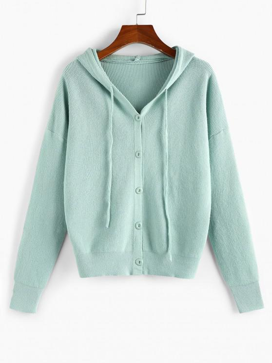 Hooded Drop Shoulder Single Breasted Cardigan - اخضر فاتح S