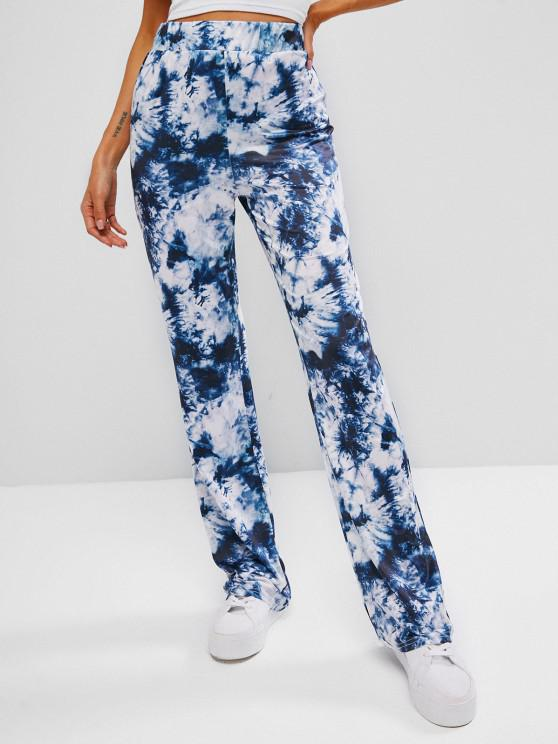 outfit High Waisted Tie Dye Boot Cut Pants - BLUE S