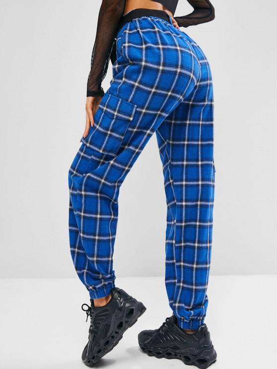ZAFUL Plaid Belted Pocket Pants - Ocean Blue S