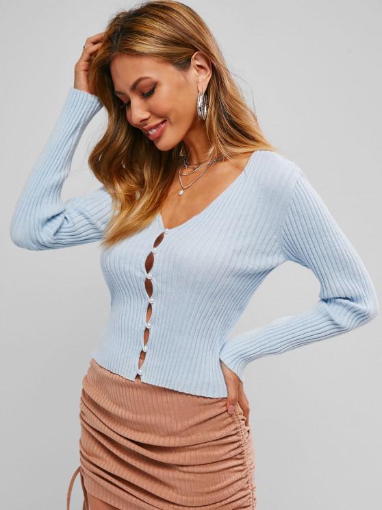 lady ZAFUL Rib Knit Loop Button Cropped Cardigan - LIGHT BLUE XL