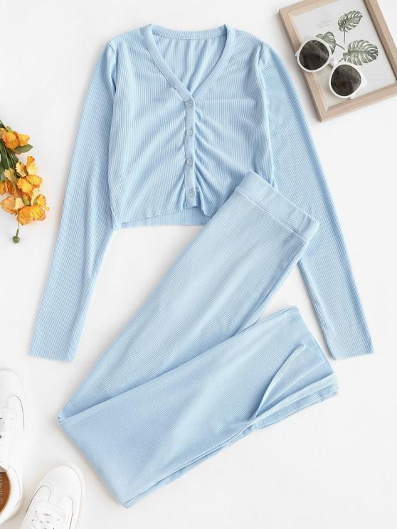 best Button Up Ribbed Slit Two Piece Set - LIGHT BLUE M