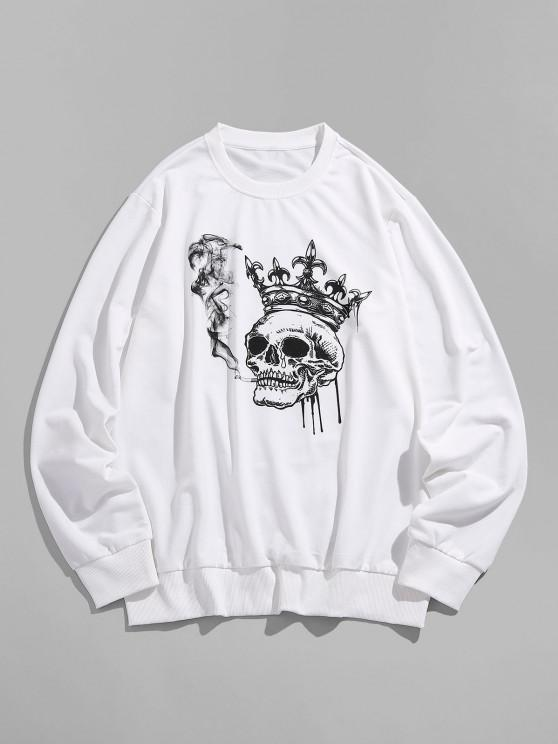 ZAFUL Funny Smoking Skull Crown Print Sweatshirt - أبيض S