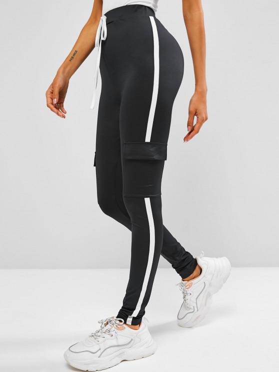 trendy ZAFUL Pocket Tape Side Skinny Leggings - BLACK S