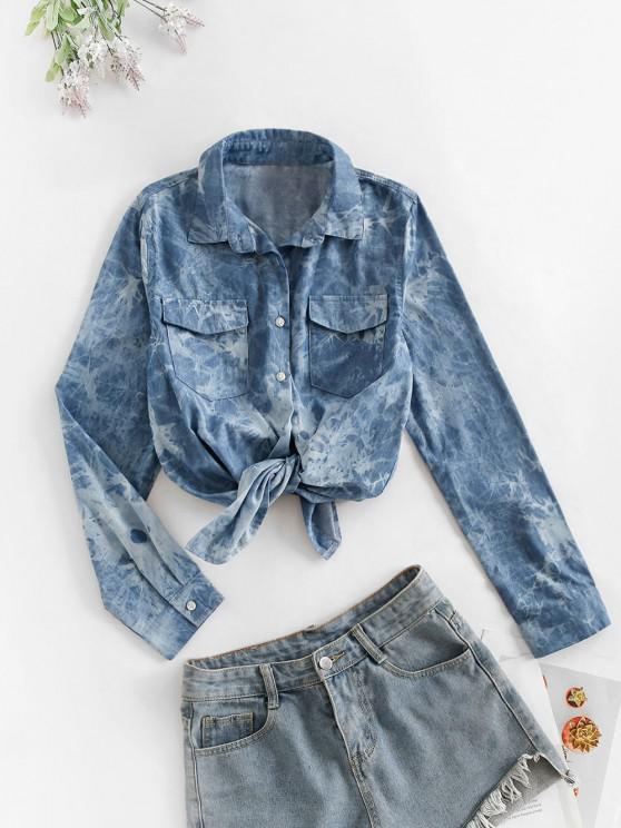 Flap Pockets Tie Dye Chambray Cargo Shirt - الدينيم الأزرق الداكن M