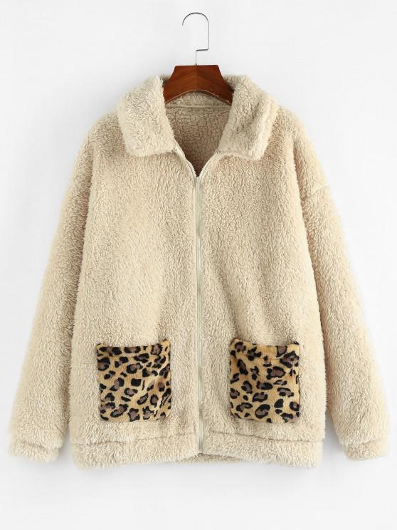shops ZAFUL Leopard Pocket Zip Faux Fur Teddy Coat - APRICOT M