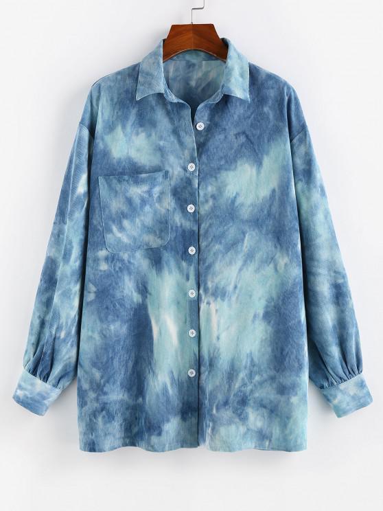 chic ZAFUL Tie Dye Corduroy Pocket Drop Shoulder Shirt - SILK BLUE M