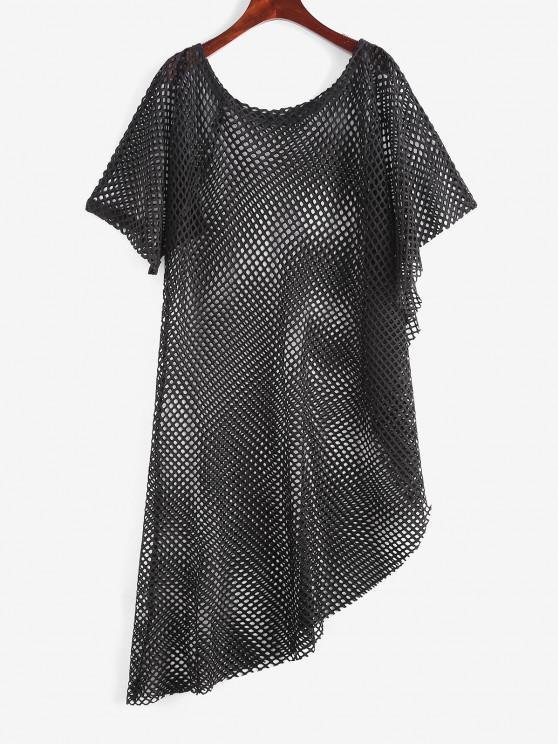 shops Openwork Uneven Hem Raw Cut Cover-up Dress - BLACK ONE SIZE