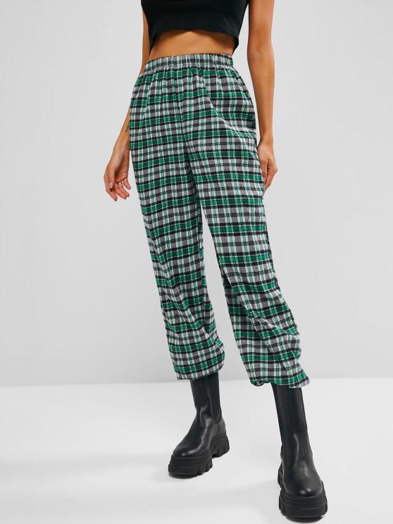Pantalones Tartán Cintura Alta Bolsillo a Cuadros - Verde claro S