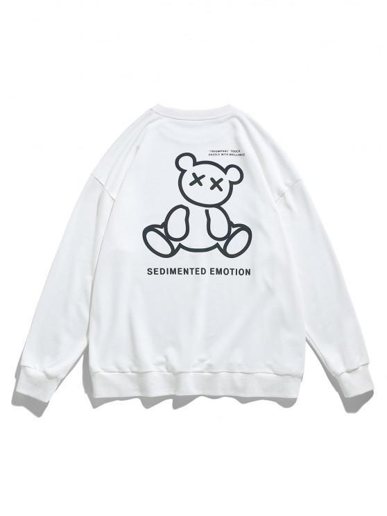 Moletom Gráfico do Ombro da Gota do Urso - Branco L