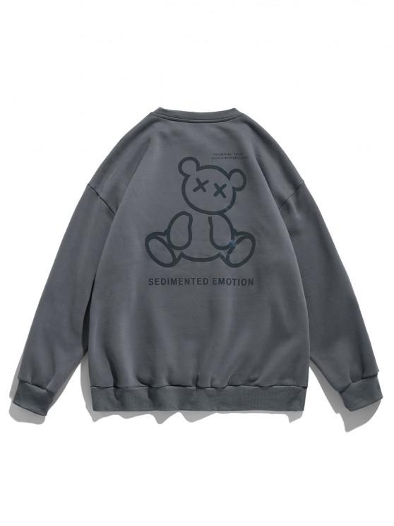 Reflective Bear Graphic Drop Shoulder Lounge Sweatshirt - الرمادي الداكن XL