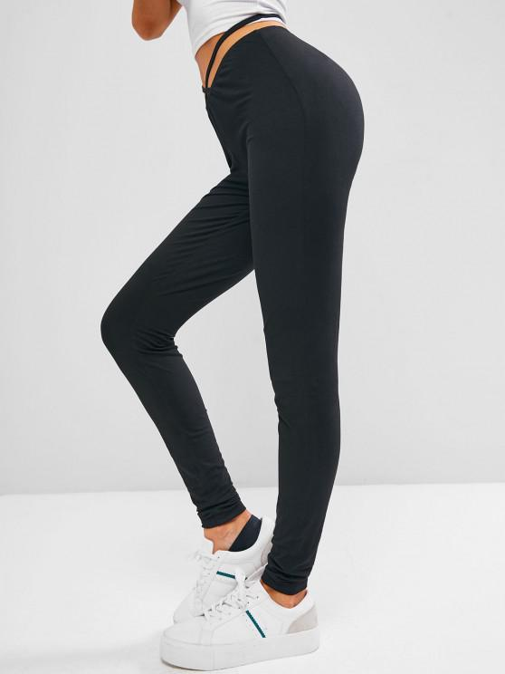 ladies ZAFUL Criss Cross Plain Skinny Leggings - BLACK S