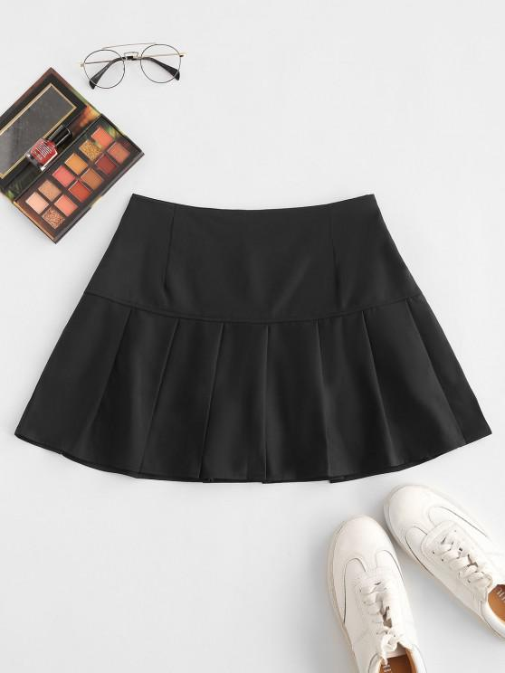 hot Side Zipper Solid Pleated Mini Skirt - BLACK S