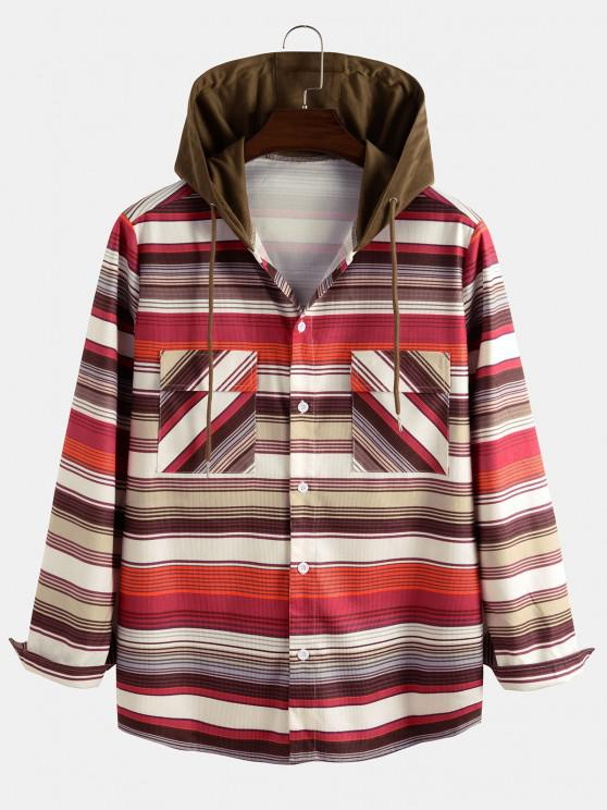 buy Hooded Striped Pattern Pocket Button Up Shirt Jacket - MULTI M