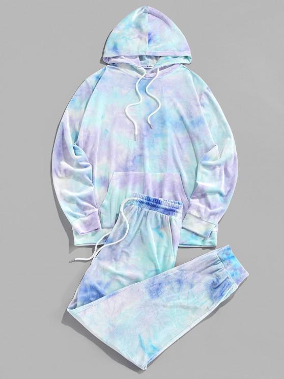 lady ZAFUL Tie Dye Print Hoodie and Pants Two Piece Set - TRON BLUE M