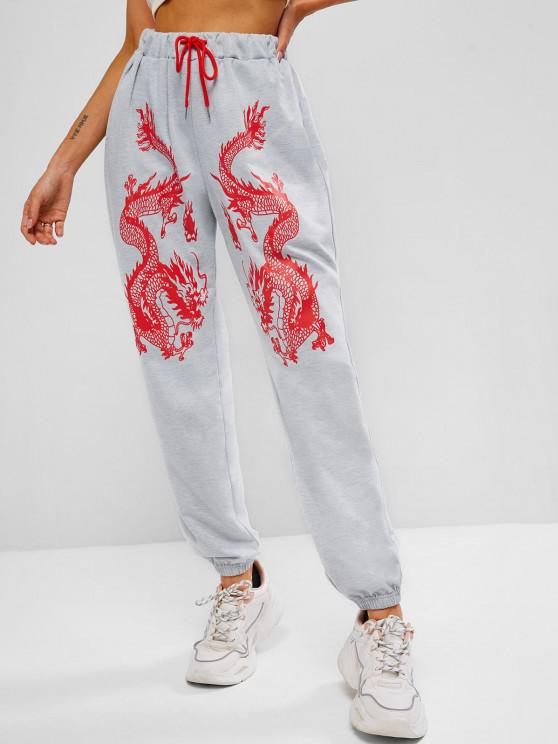 latest ZAFUL Dragon Print Chinoiserie Jogger Pants - LIGHT GRAY L