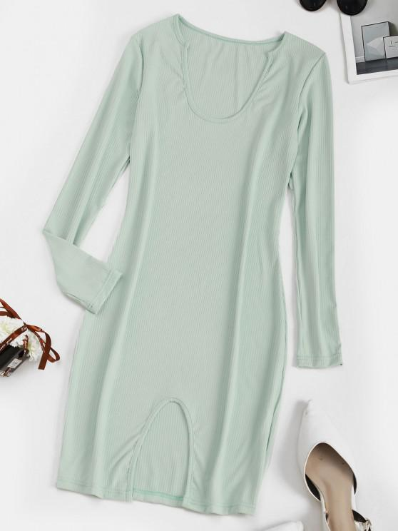 ladies Ribbed Slit Bodycon Long Sleeve Dress - LIGHT GREEN S