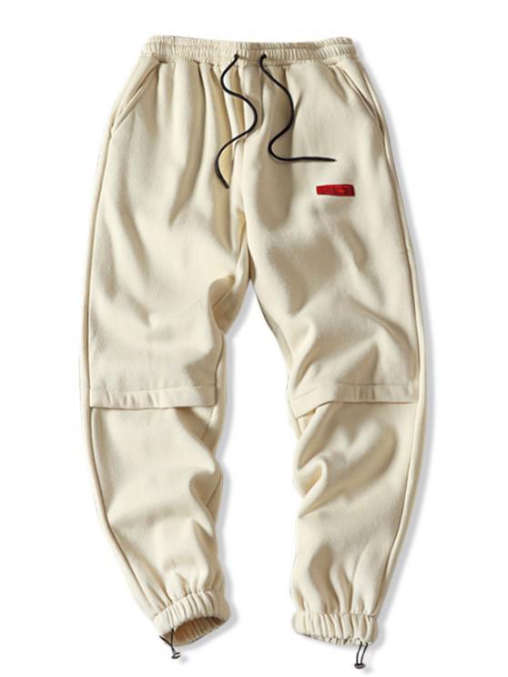 Pantalones Jogger de Lana con Bordado de Letras - Beige M