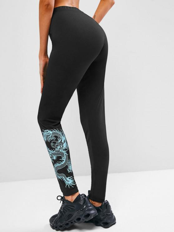 womens ZAFUL Chinoiserie Dragon Print Fitted Leggings - BLACK M