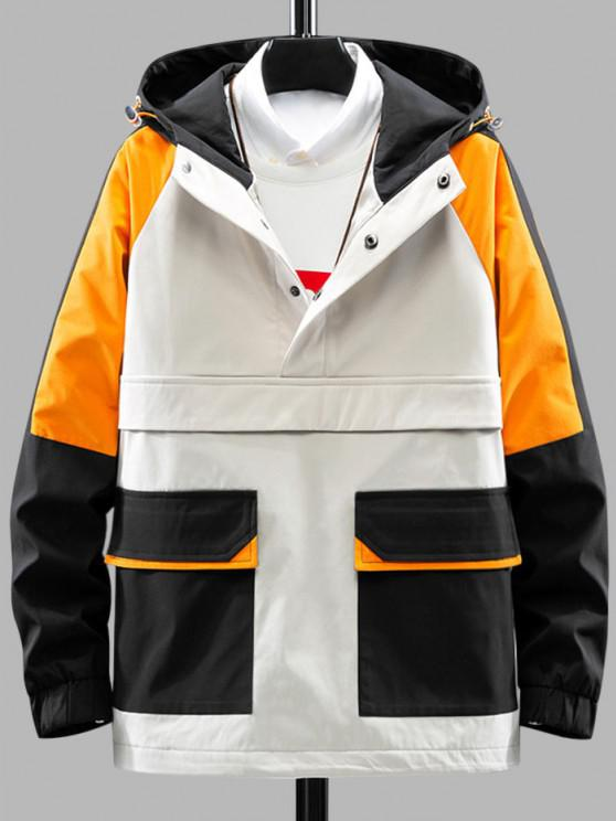 Color Blocking Hooded Graphic Pullover Cargo Jacket - ضوء الكاكي XL