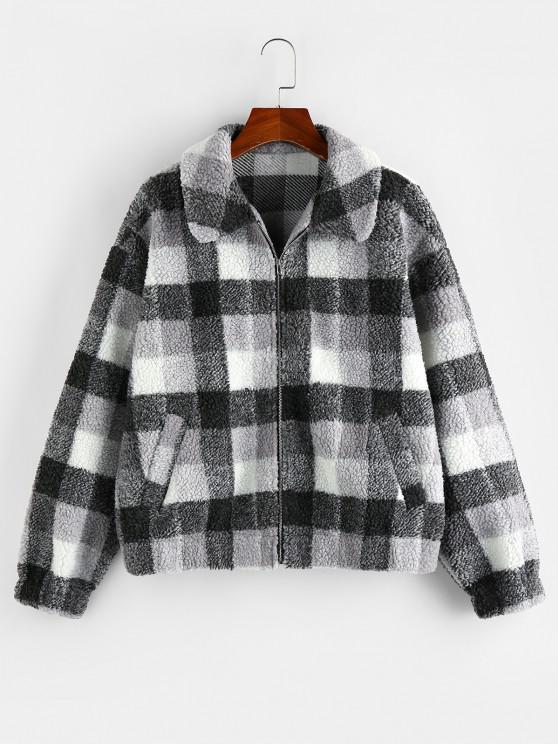 women's ZAFUL Plaid Drop Shoulder Zip Up Teddy Coat - BLACK S