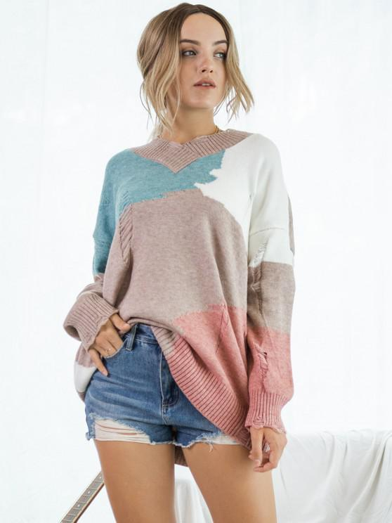 Ripped Color Blocking Drop Shoulder Tunic Sweater - متعدد S