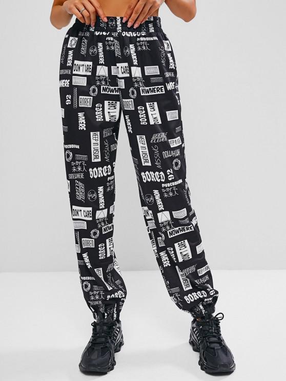 affordable ZAFUL Japanese Print Harajuku Style Pants - BLACK L