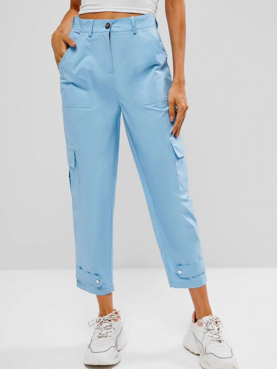 High Waisted Pocket Ninth Cargo Pants - أزرق فاتح S