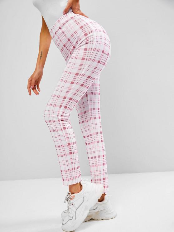 unique ZAFUL Tartan Print High Waisted Skinny Leggings - LIGHT PINK L