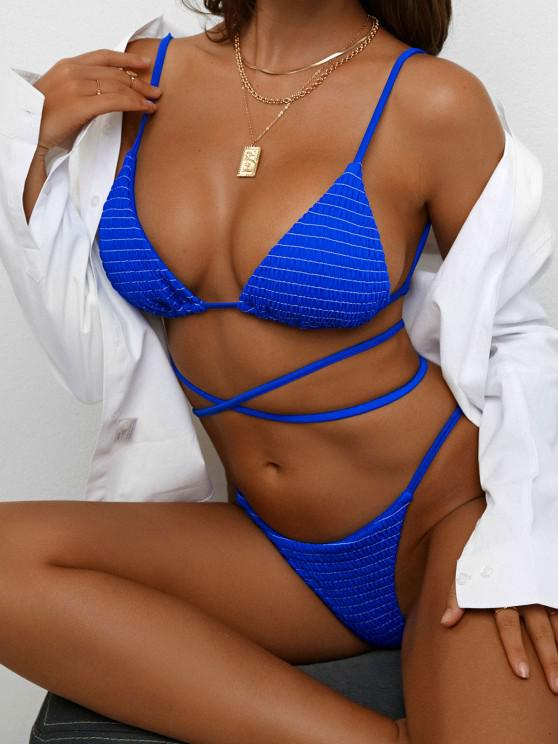 unique ZAFUL Smocked High Leg String Bikini Swimwear - BLUE L